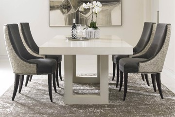 Precedent two-tone upholstered dining chairs with contemporary dining table