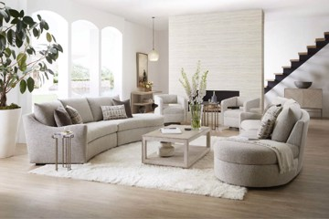 Sam Moore upholstered sectionals with cocktail table and drink table