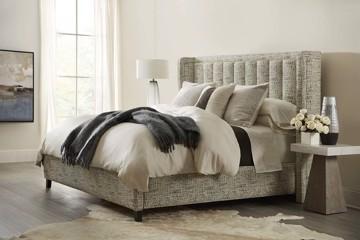 Sam Moore beige upholstered bed