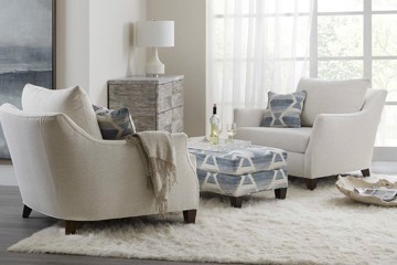 Sam Moore upholstered chairs and ottoman