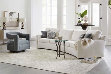 Sam Moore ivory sofa, arm chair and drink table