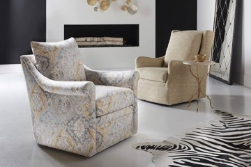 Sam Moore upholstered print chair and upholstered beige chair