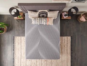 Mattress set with upholstered headboard