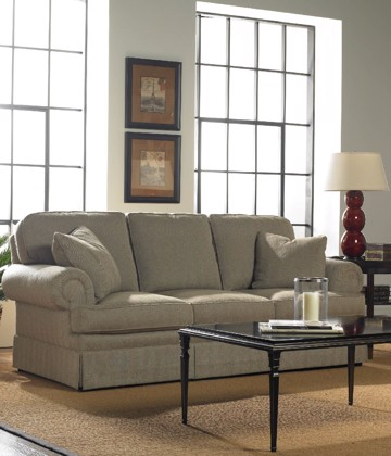 Sherrill beige sofa with cocktail table