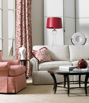 Sherrill furniture upholstered sofa with arm chair and cocktail table