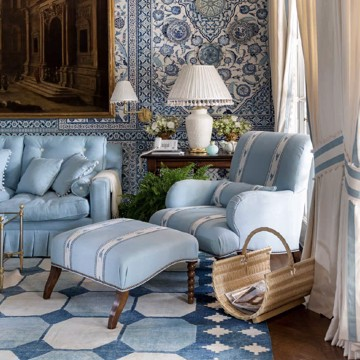 shades of blue and different patterned furniture, wallpaper and rug in traditional style living room