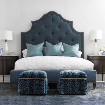Hickory White blue upholstered bed and ottomans