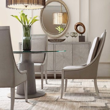 Hooker Furniture transitional, neutral dining room table and chairs