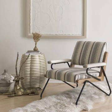Precedent wire frame accent chair with striped upholstery