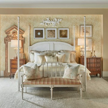 Theodore Alexander royal white poster bed