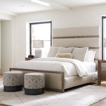 Neutral upholstered bed