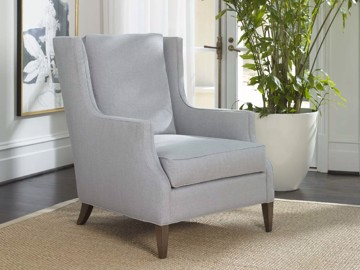 Blue upholstered arm chair