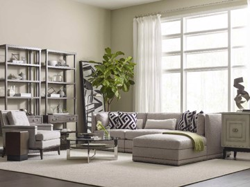 Upholstered sectional with chaise and arm chairs