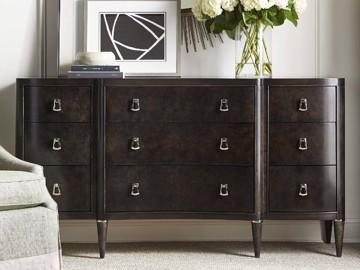 Dark wood nine drawer dresser with silver hardware