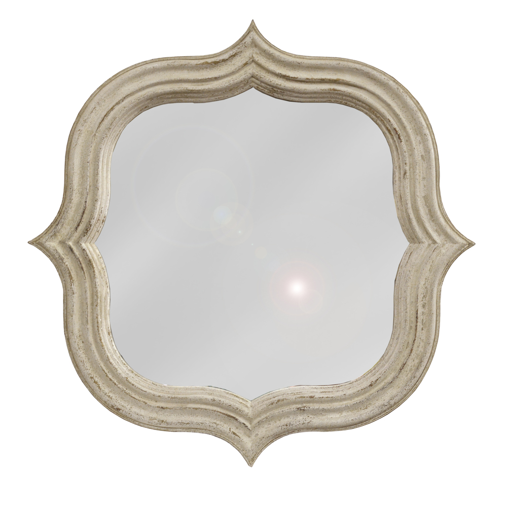 GJ Styles - Quatrefoil Mirror, Antique White