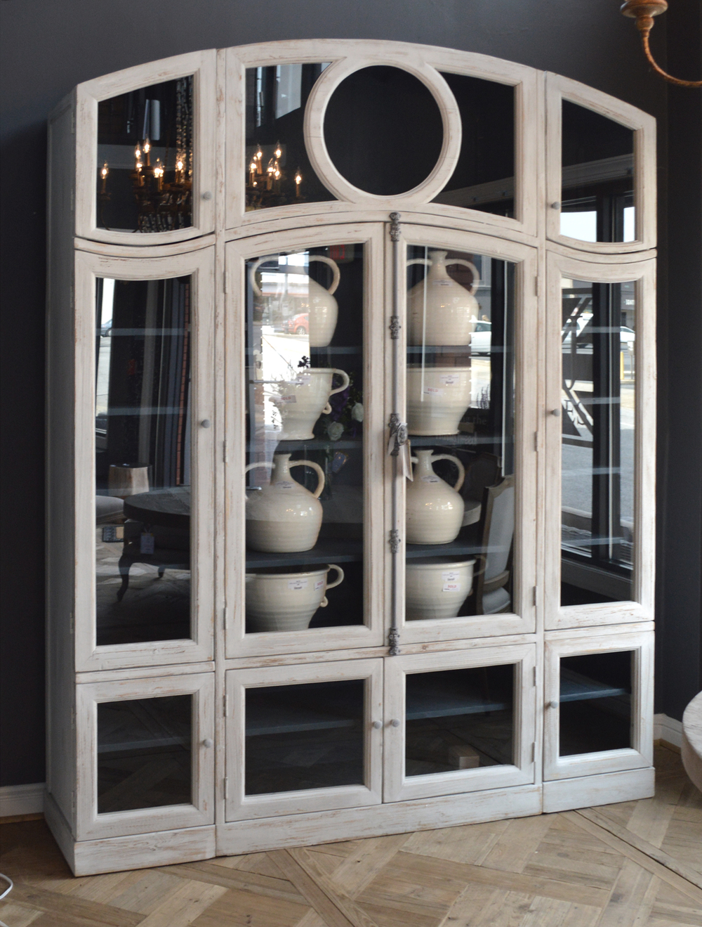 GJ Styles - Glass Front Arched Cabinet, Antique White