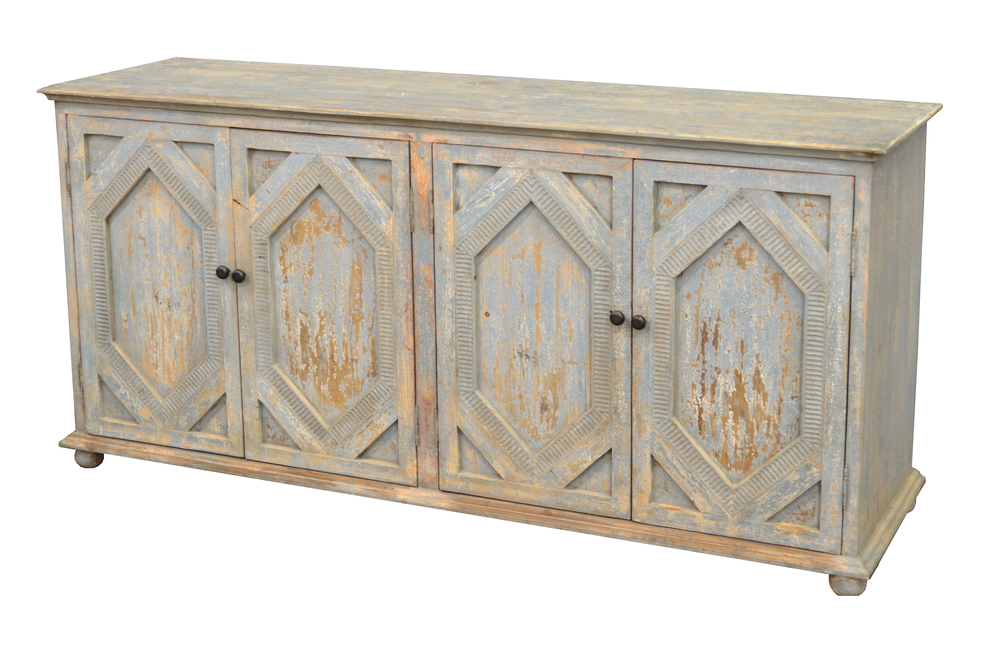GJ Styles - Carved Sideboard, Distressed Light Blue