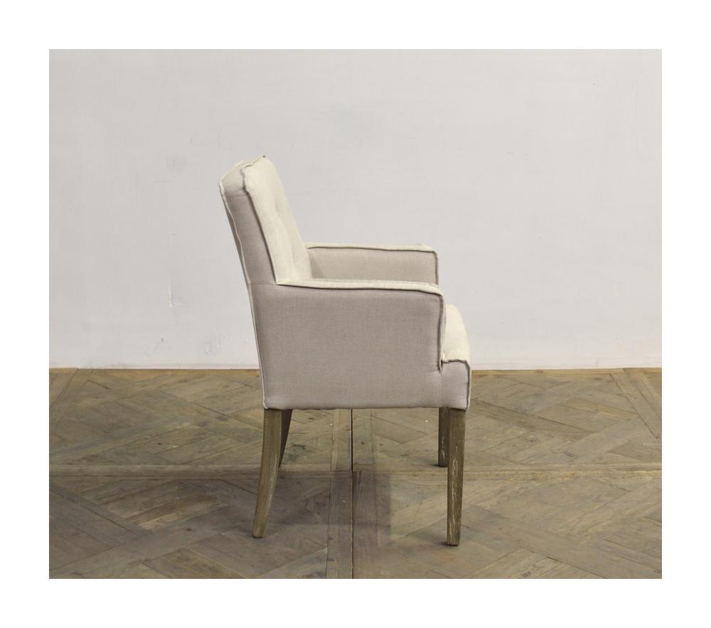 GJ Styles - Square Back Linen Arm Chair with Oak Leg