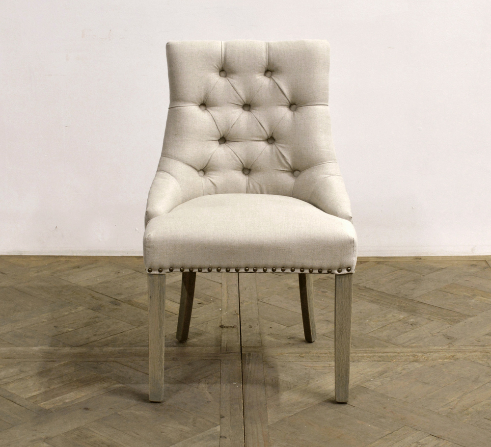 GJ Styles - Square Back Tufted Linen Side Chair