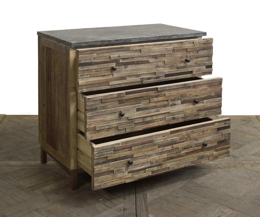 GJ Styles - Elm Rectangle Block Chest with Blue Stone Top