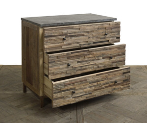 Thumbnail of GJ Styles - Elm Rectangle Block Chest with Blue Stone Top