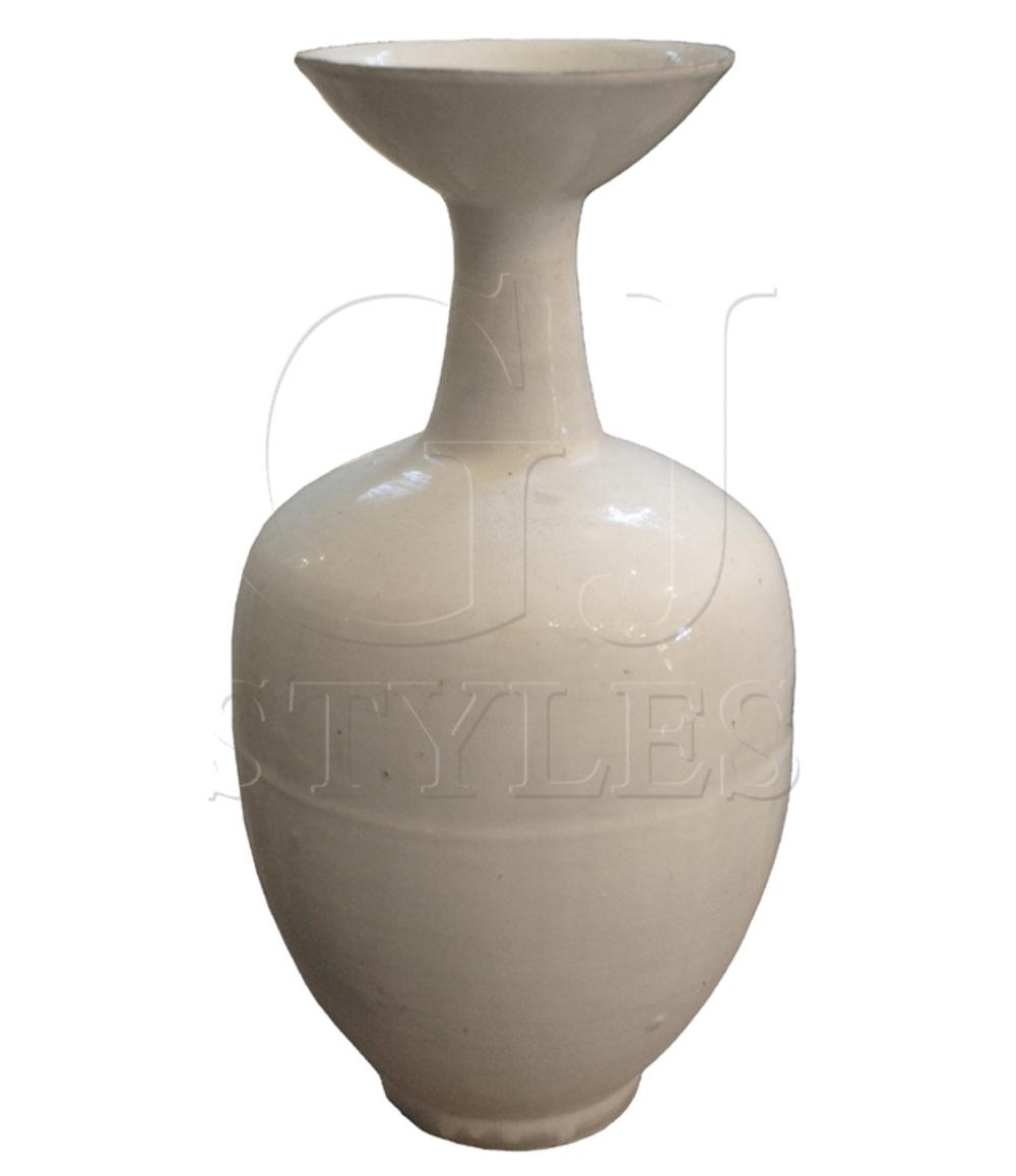 GJ Styles - White Porcelain Vase with Skinny Neck