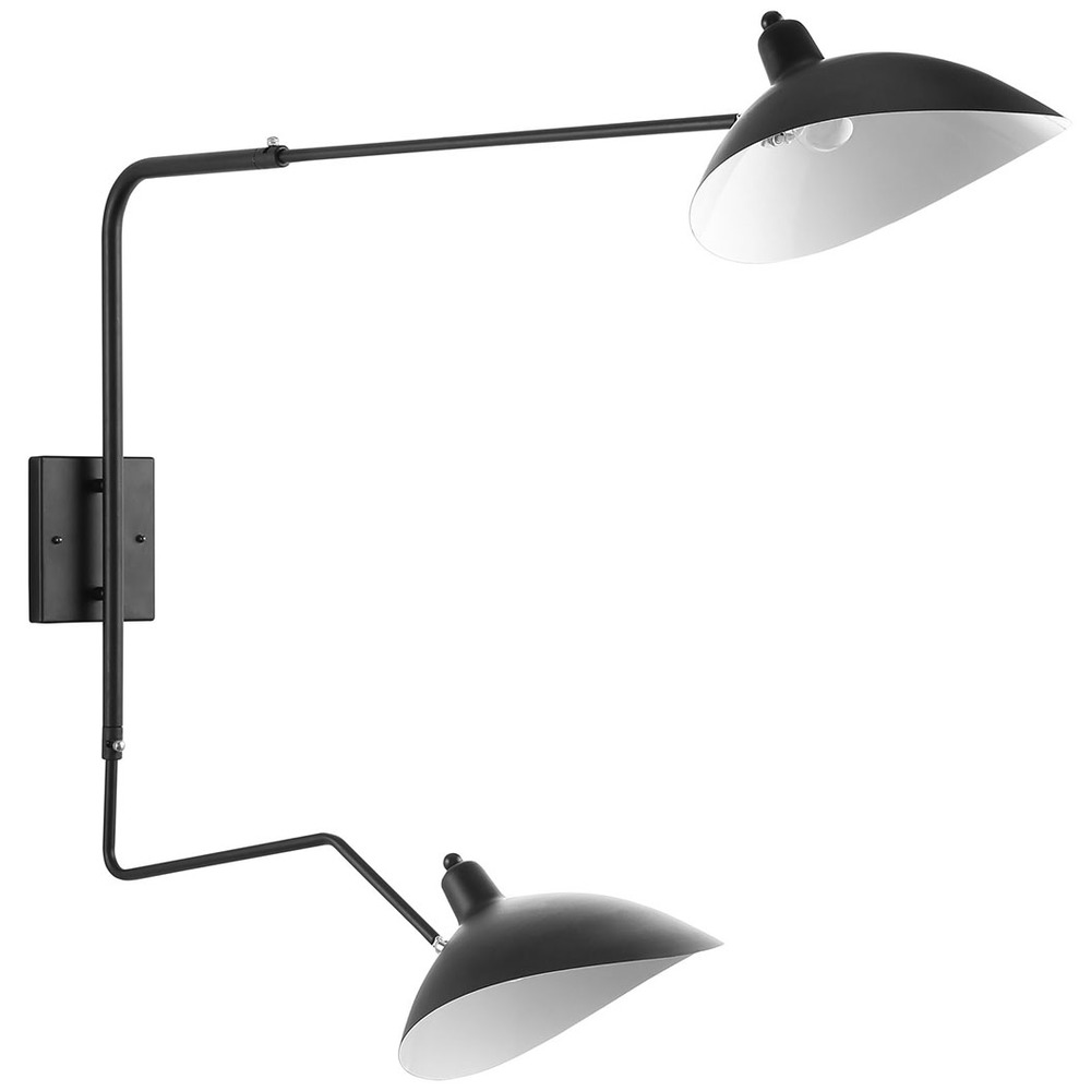 Modway Furniture - View Double Fixture Wall Lamp, Black