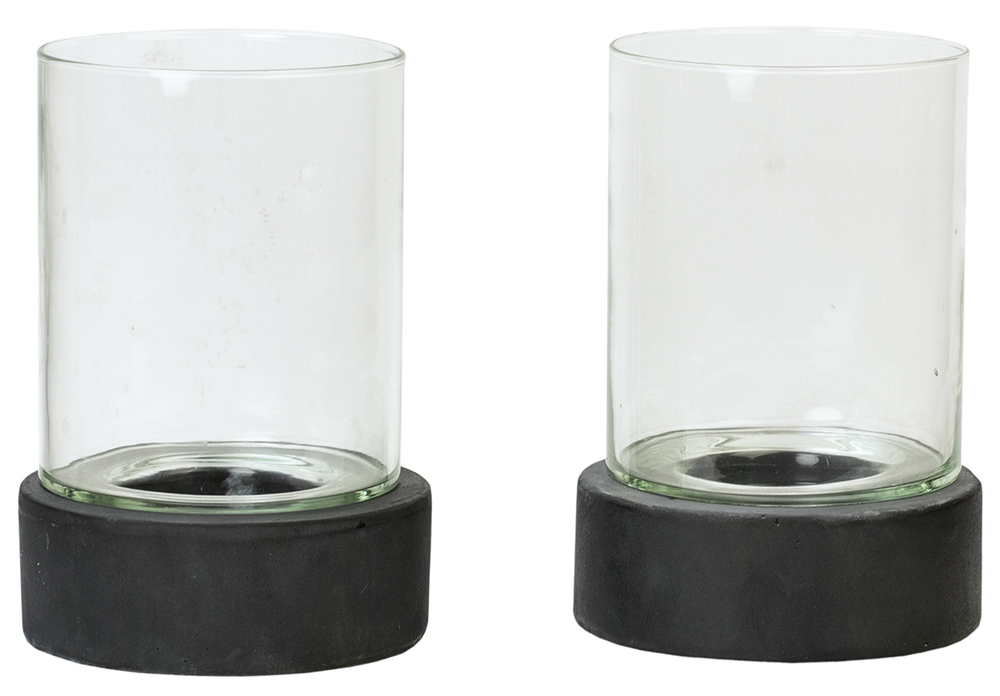 Dovetail Furniture - Candle Holder with Glass, Set/2, Antique Grey