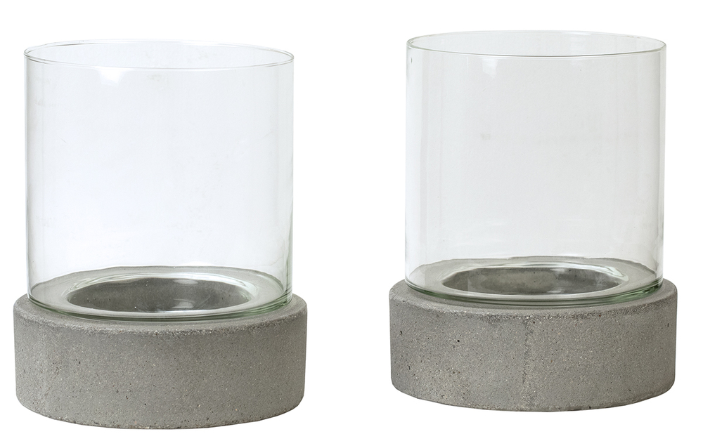 Dovetail Furniture - Candle Holder with Glass, Set/2
