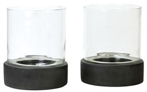 Thumbnail of Dovetail Furniture - Candle Holder with Glass, Set/2, Antique Grey