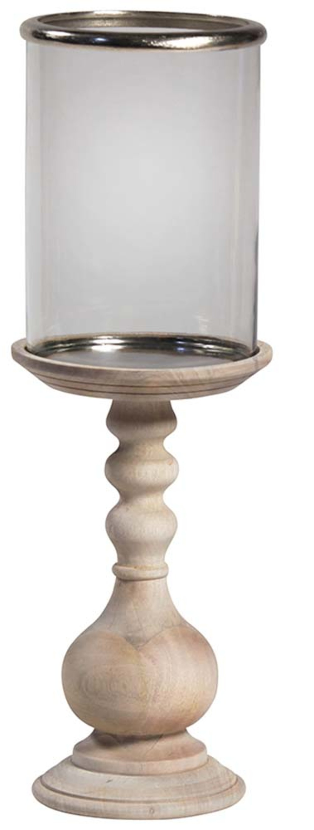 Dovetail Furniture - Wooden Pillar Holder with Glass