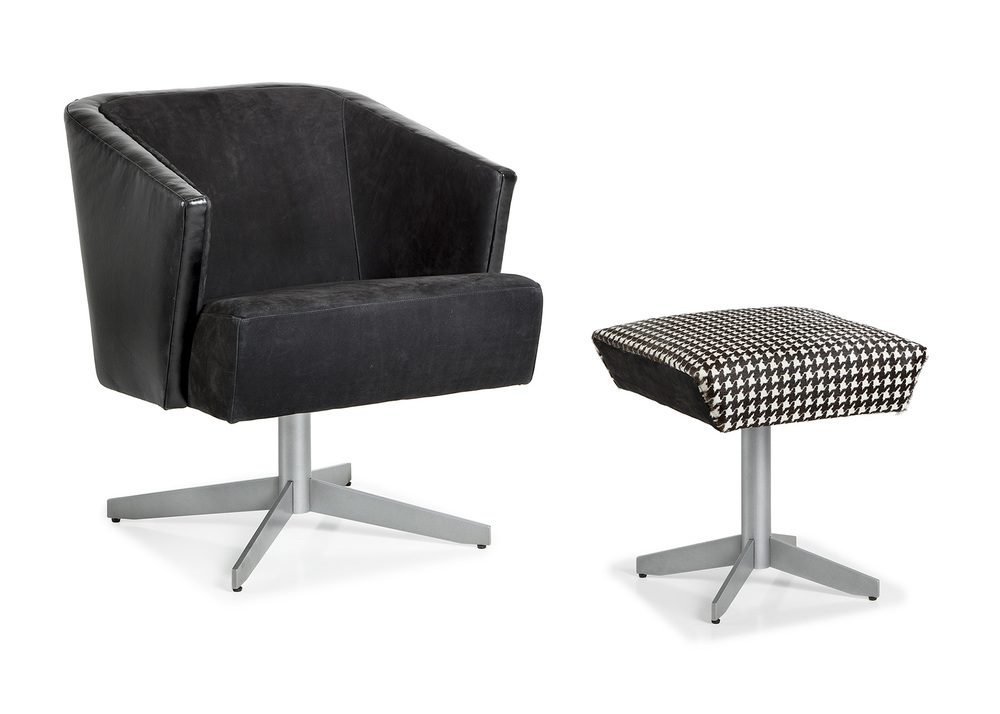 HANCOCK & MOORE - Twist Lounge Chair and Ottoman with Metal Legs