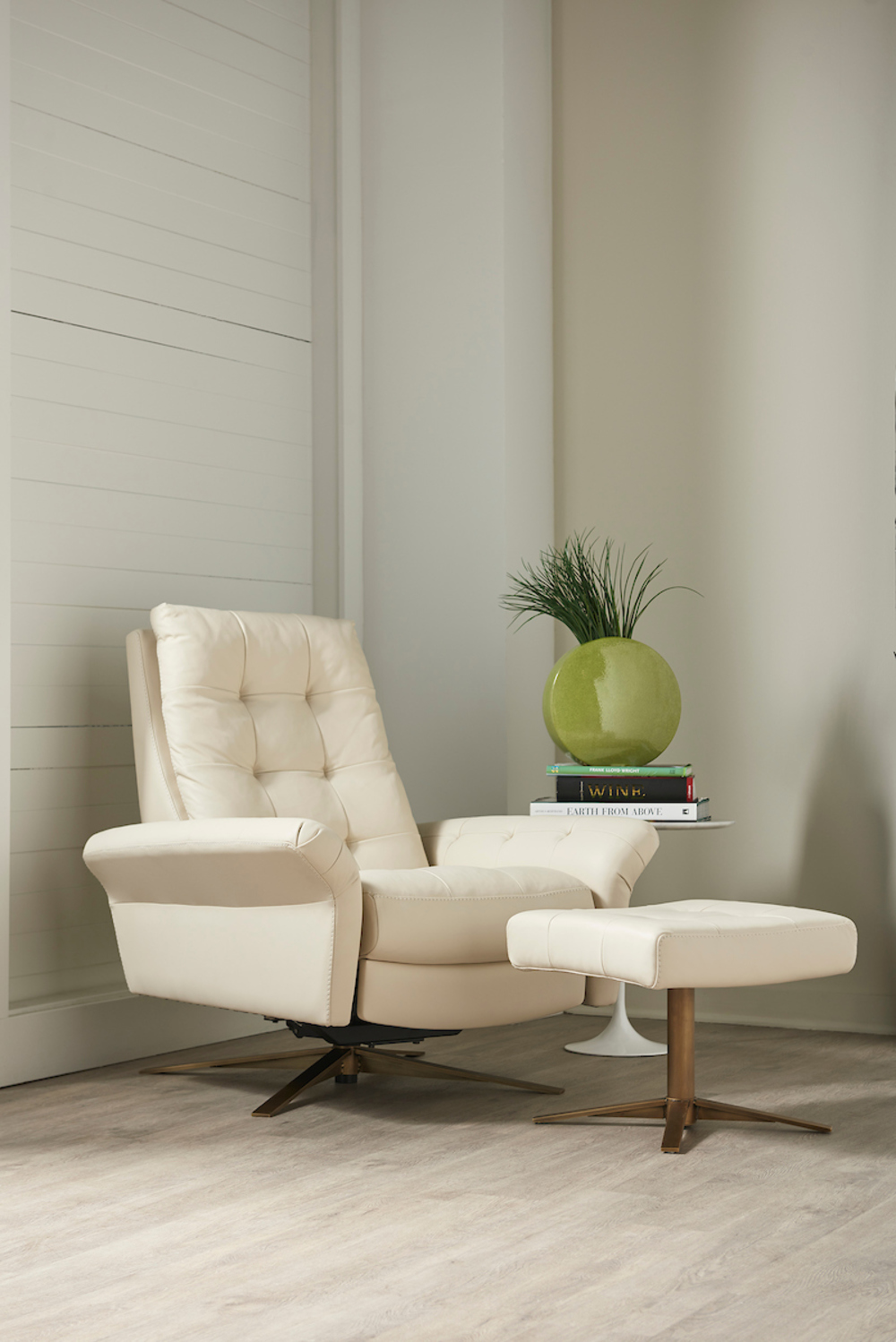 American Leather - Pielus Comfort Air Chair Large Plus Ottoman Combo