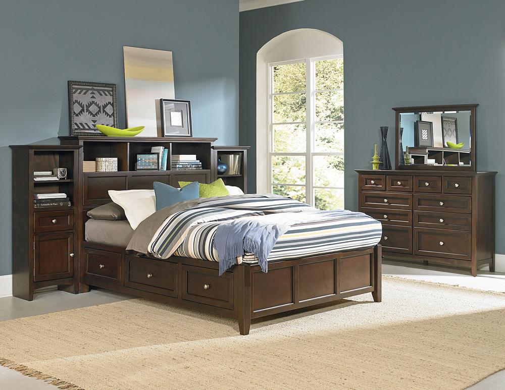 Whittier Wood Furniture - McKenzie Bookcase Storage Bed