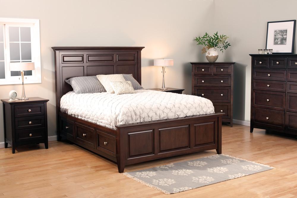 Whittier Wood Furniture - McKenzie Mantel Queen Storage Bed