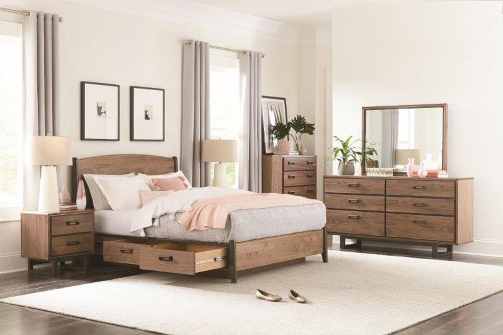 Whittier Wood Furniture - Queen Curved Panel Storage Bed