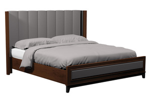 Thumbnail of Country View Woodworking - Vertical Panel Upholstered Bed with Wood Leg