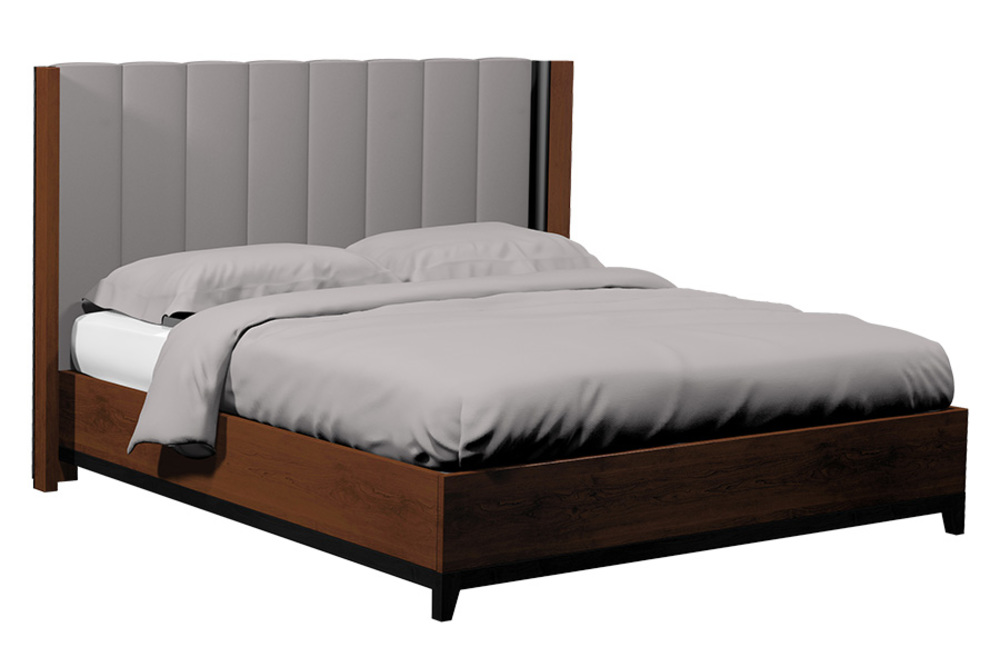 Country View Woodworking - Vertical Panel Upholstered Bed with Wood Leg
