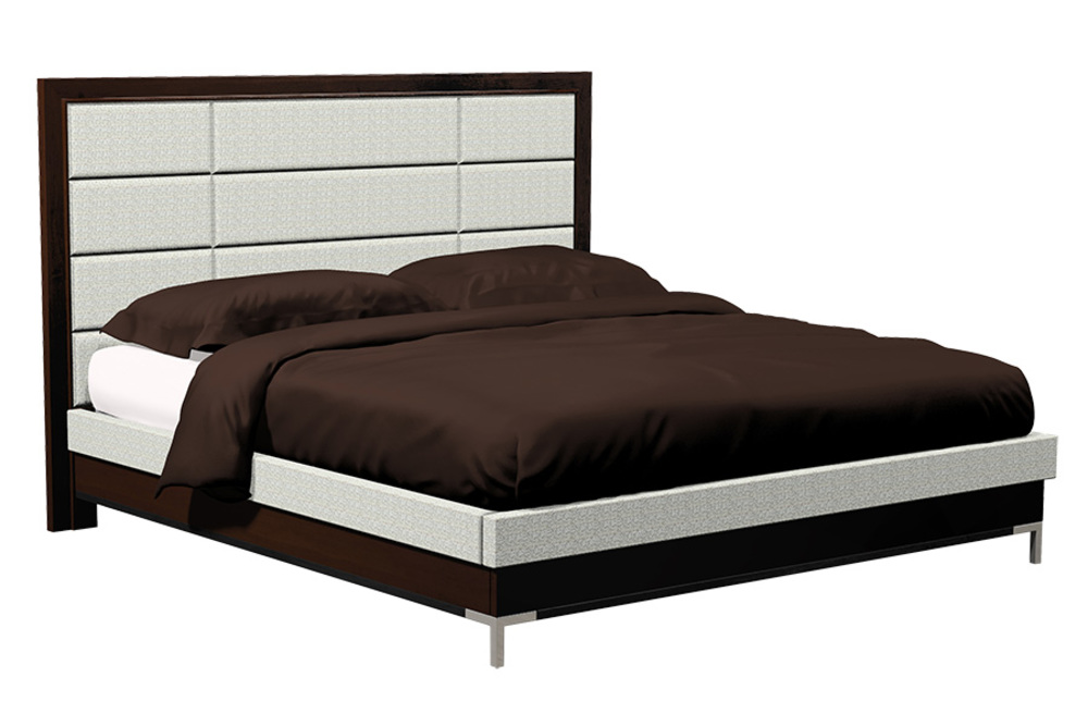 Country View Woodworking - Twelve Panel Upholstered Bed with Metal Leg
