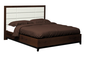 Thumbnail of Country View Woodworking - Twelve Panel Upholstered Bed with Wood Leg