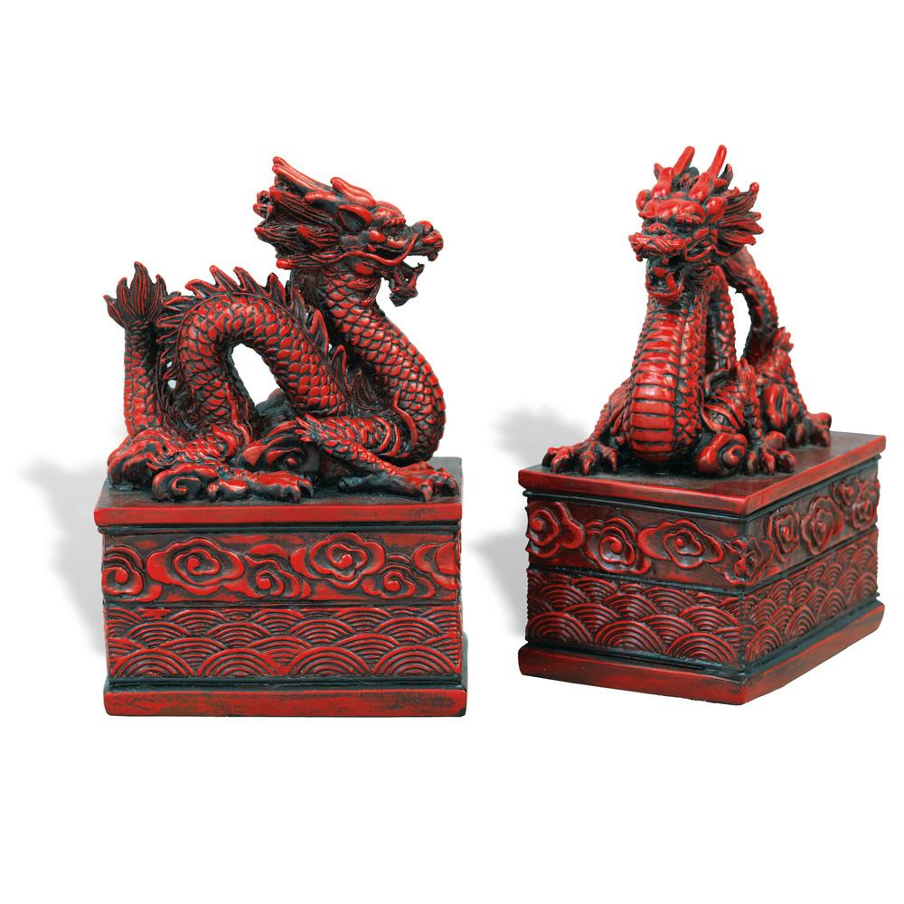 Port 68 - Dragon Cinnabar Bookends, Set/2