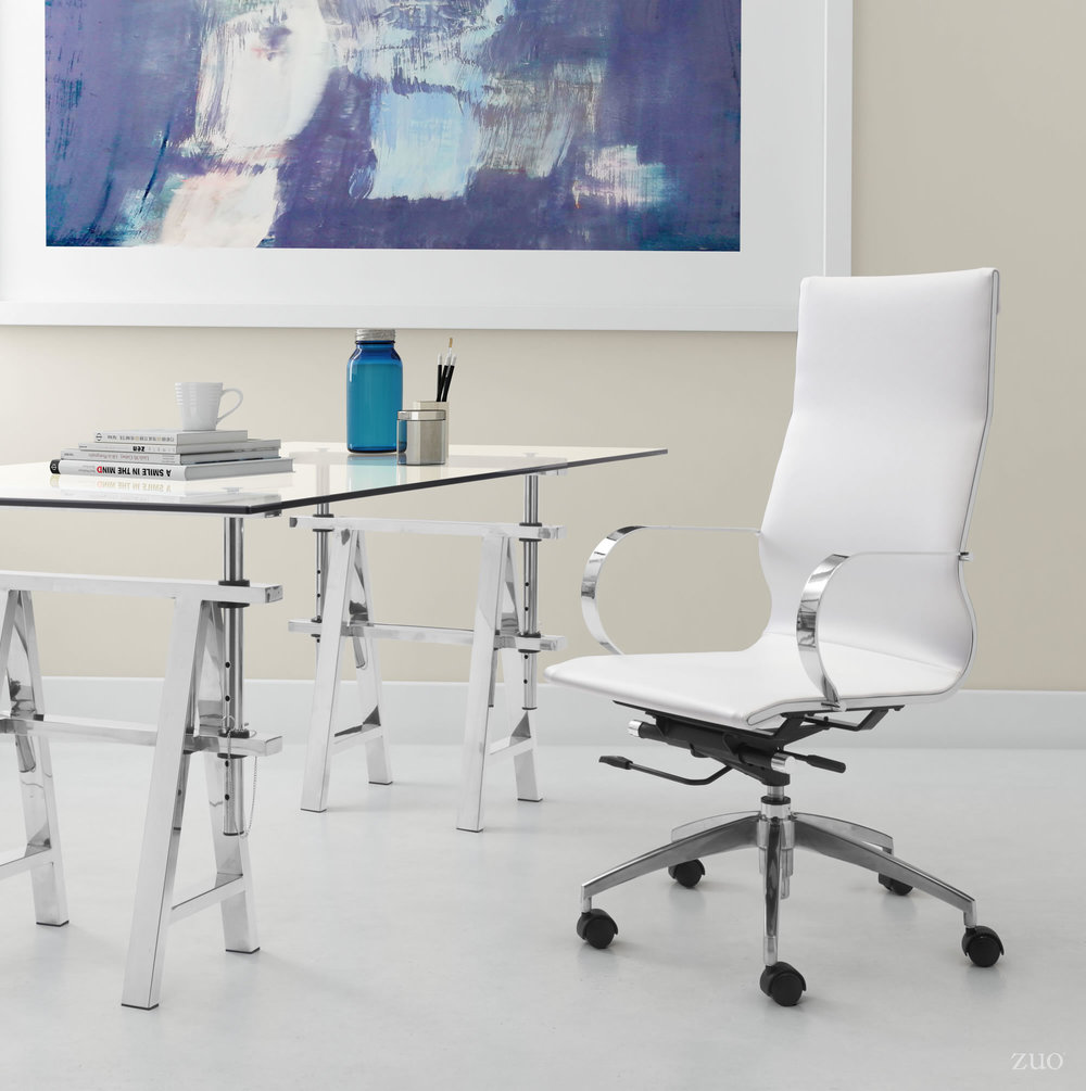 Zuo Modern Contemporary - Glider High Back Office Chair White