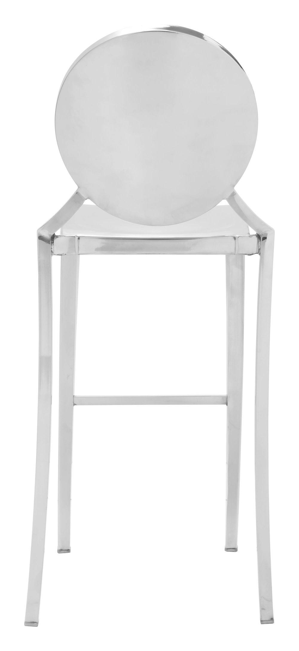 Zuo Modern Contemporary - Eclipse Bar Chair, Set/2, Stainless Steel