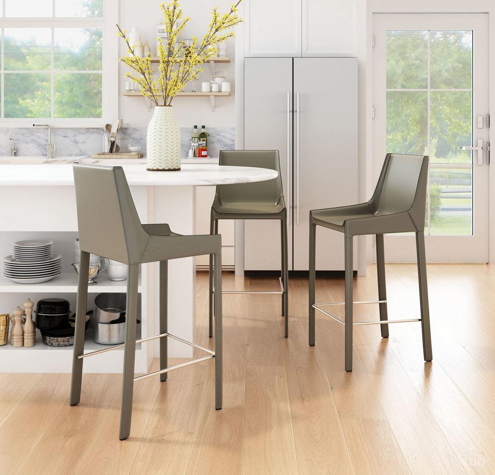 Zuo Modern Contemporary - Fashion Bar Chair, Set/2, Gray