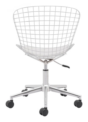 Thumbnail of Zuo Modern Contemporary - Wire Office Chair Chrome & White Cushion