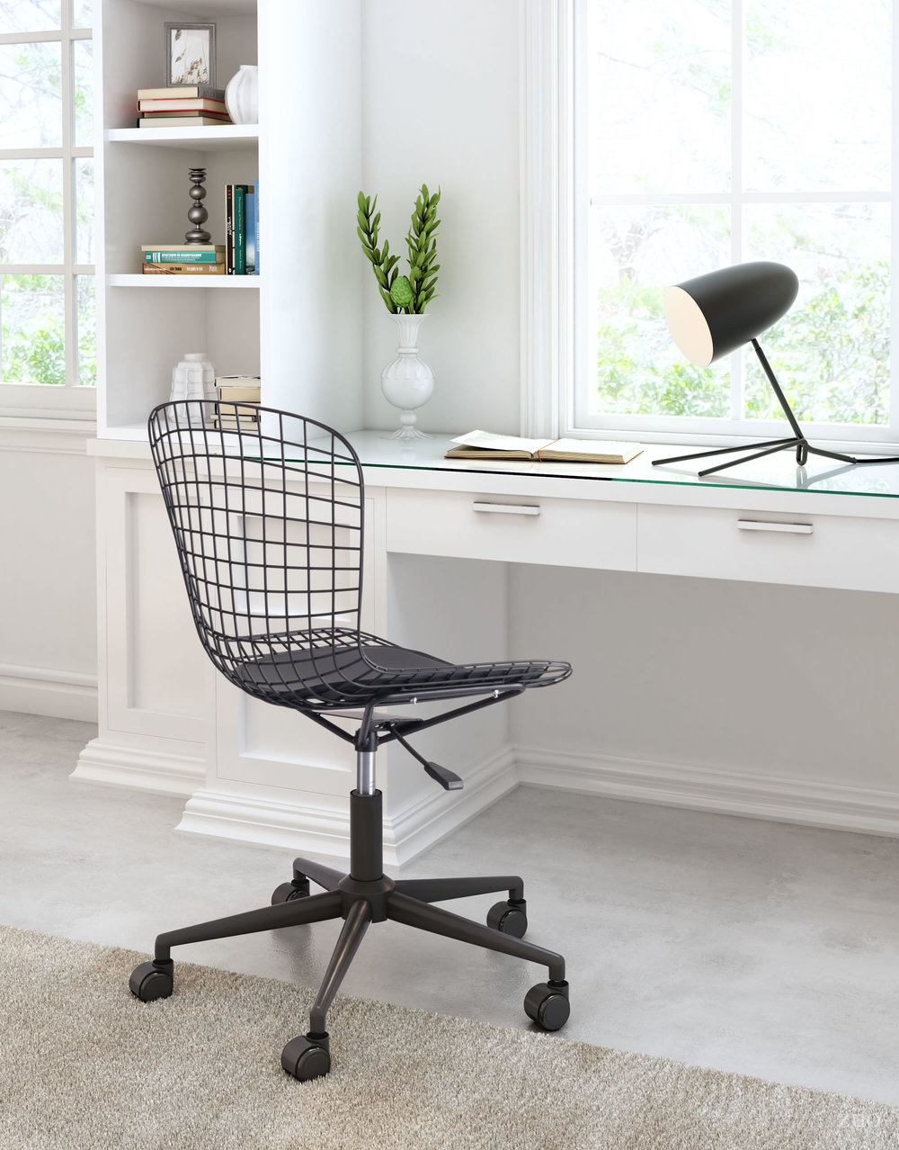 Zuo Modern Contemporary - Wire Office Chair Black & Black Cushion