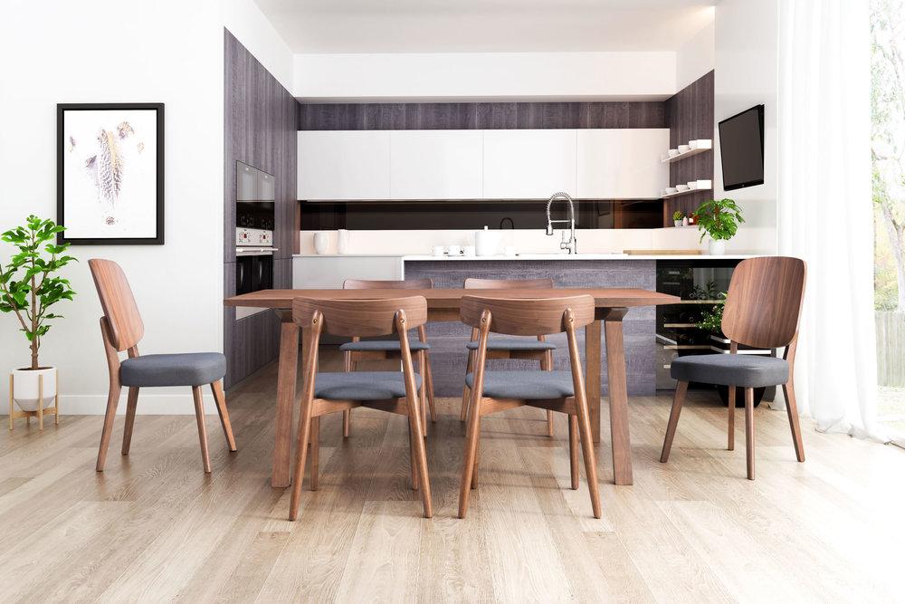 Zuo Modern Contemporary - Newman Dining Chair - Set of 2 - Walnut & Blue