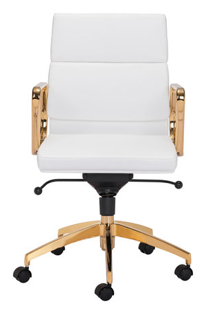 Thumbnail of Zuo Modern Contemporary - Scientist Low Back Office Chair White & Gold
