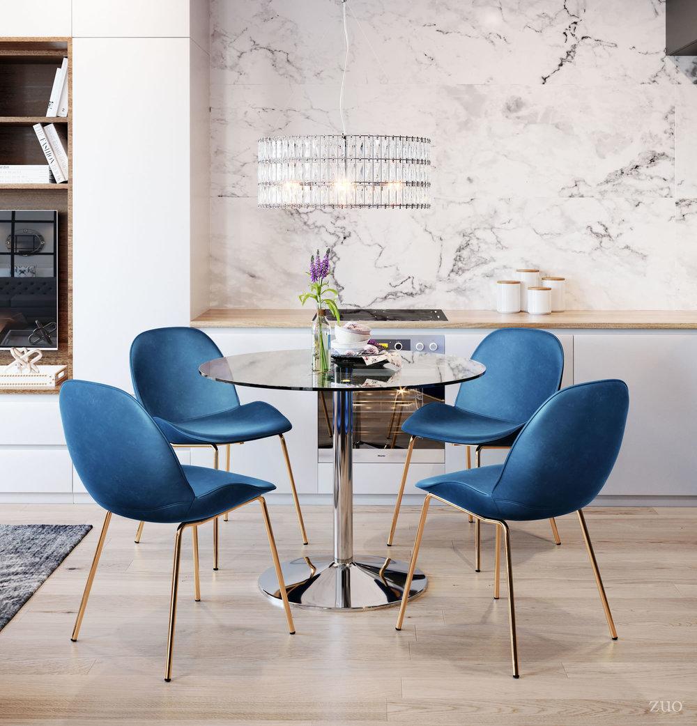 Zuo Modern Contemporary - Siena Dining Chair - Set of 2 - Dark Blue