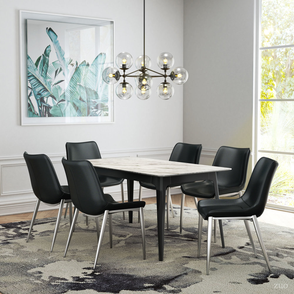 Zuo Modern Contemporary - Magnus Dining Chair - Set of 2 - Black & Silver